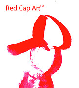 Baseball Cap Digital Art Prints - Red Cap Print by Linda Hubbard Red Cap Art