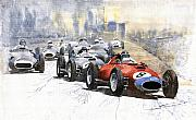 Classic Sport Cars Posters - Red Car Ferrari 801 German GP 1957  Poster by Yuriy  Shevchuk