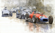 Automotiv Framed Prints - Red Car Ferrari 801Mike Hawthorn German GP 1957  Framed Print by Yuriy  Shevchuk
