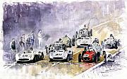 Watercolour Painting Metal Prints - Red Car Maserati 250 France GP Metal Print by Yuriy  Shevchuk