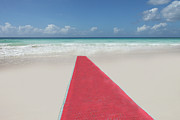 Miami Beach Framed Prints - Red Carpet On A Beach Framed Print by Buena Vista Images