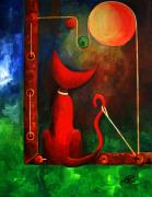 Moonlit Night Prints - Red Cat Looking At The Moon Print by Silvia Regueira