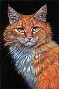 Cats Pastels Prints - Red Cat Print by Svetlana Ledneva-Schukina