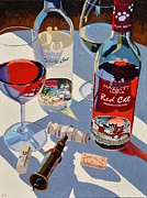 Blue Red And White Posters - Red Cat  White Cat Poster by Christopher Mize