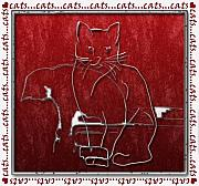 Cats Digital Art Digital Art Prints - Red Cats Print by Arline Wagner