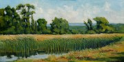 Hudson Valley Paintings - Red Cattails on Zion by Robert James Hacunda