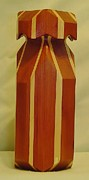 Wood Carving Sculpture Framed Prints - Red Cedar and Maple Vase Framed Print by Russell Ellingsworth