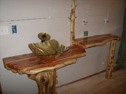 Sculptured Sculpture Originals - Red Cedar Bathroom Vanity Sculpture by Doug Crete