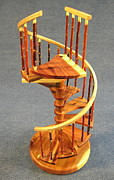 Architecture Sculpture Framed Prints - Red Cedar rustic spiral stairs Framed Print by Don Lorenzen