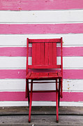 Pink White Framed Prints - Red chair and pink strips Framed Print by Garry Gay