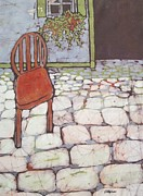 Garden Scene Tapestries - Textiles Metal Prints - Red Chair Batik Metal Print by Kristine Allphin