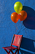 Red Balloons Framed Prints - Red chair blue wall Framed Print by Garry Gay