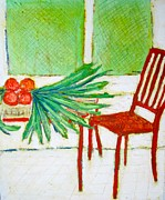 Kitchen Chair Paintings - Red Chair by Clarence Major