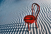 Lines Art - Red chair in sand by Garry Gay