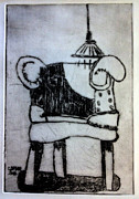 Drypoint Prints - RED CHAIR of READING edition of 12 Print by Charlie Spear