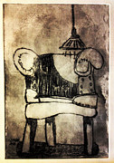 Drypoint Prints - RED CHAIR of READING edition of 6 Print by Charlie Spear