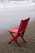 Lonely Photo Framed Prints - Red chair on the beach Framed Print by Garry Gay