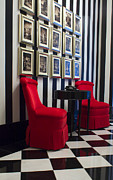 Flooring Framed Prints - Red Chairs Framed Print by VJ Lair