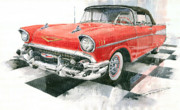 Chevrolet Painting Metal Prints - Red Chevrolet 1957 Metal Print by Yuriy  Shevchuk