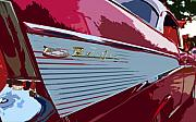 Antic Car Framed Prints - Red Chevy Framed Print by David Lee Thompson