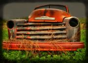 Old Chevrolet Truck Posters - Red Chevy Poster by Thomas Young