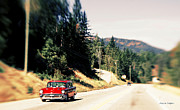 Lensbaby Photography Framed Prints - Red Chevy Wagon Cruising Framed Print by Jayne Logan