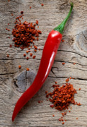 Fresh Green Posters - Red Chili Pepper Poster by Nailia Schwarz