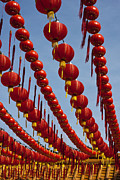 Ancestors Prints - Red Chinese Lanterns at Thean Hou Temple in Kuala Lumpur Print by Zoe Ferrie