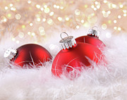 Backgrounds Prints - Red christmas balls with abstract background Print by Sandra Cunningham