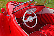Windshield Posters - Red classic car Poster by Garry Gay