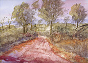 Gravel Painting Prints - Red-Clay Road Print by Barry Jones