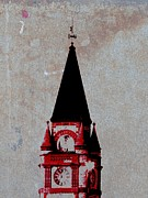 Red Clock Tower Print by Barbara Henry