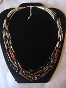Silver Turquoise Jewelry - Red cloisonne multi strand necklace by Jan Durand