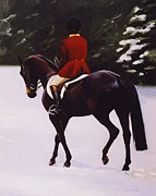 Hunt Metal Prints - Red Coat Metal Print by Janet  Crawford