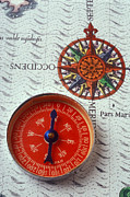 Compasses Prints - Red compass and rose compass Print by Garry Gay
