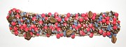 Red Leaves Jewelry - Red Copper Blue Glass Bead on Hemp Crochet Bracelet by Megan Brandl