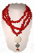The Jewelry - Red Coral Yin Yang by Donna  Phitides