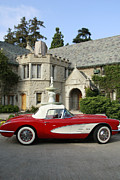 Nina Prommer Prints - Red Corvette outside the Playboy Mansion Print by Nina Prommer