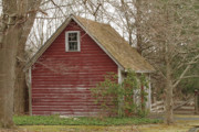 Outbuilding Framed Prints - Red Country Garage Framed Print by Karol  Livote