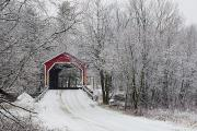 Covered Bridge Prints - Red Covered Bridge In The Winter Print by David Chapman