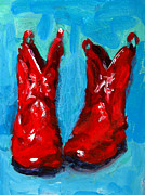 Leather Boots Posters - Red Cowboy Boots Poster by Patricia Awapara