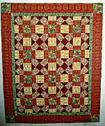 Maine Tapestries - Textiles - Red Cream Burgundy Gold throw by Vicky Birden
