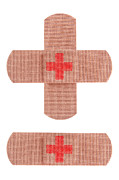 Plaster Photo Posters - Red cross bandages Poster by Blink Images