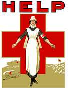 Cross Art Mixed Media Prints - Red Cross Help Print by War Is Hell Store