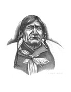 Western Pencil Drawings Prints - Red Crow Print by Lee Updike