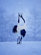 Cranes Mixed Media Prints - Red Crowned Cranes Print by Jerry L Barrett