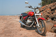 Two Wheeler Photo Framed Prints - Red Cruiser on Rocks Framed Print by Kantilal Patel
