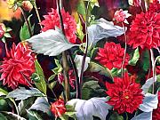Faa Painting Prints - Red Dahlias Print by Alfred Ng