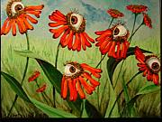 Rene Magritte Paintings - Red Daisies by Sandra Scheetz-Wise