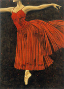 Ballet Drawings Posters - Red Dancer Poster by Lawrence Supino